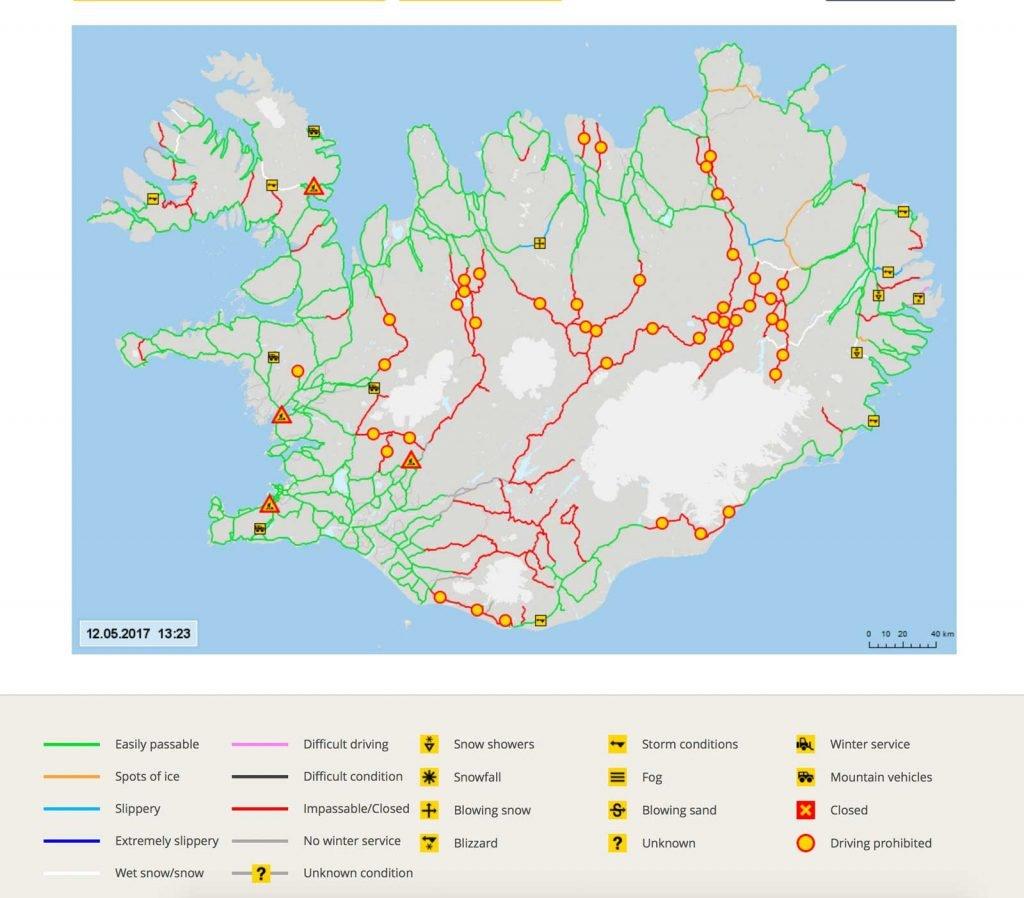 Straßenverhältnisse Island Winter