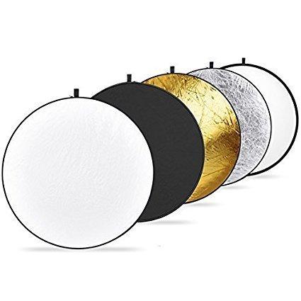 Neewer® 5 in 1 Faltreflektoren Set Reflektor (110CM Ø) Gold, Silber, Weiß, Schwarz und transparent