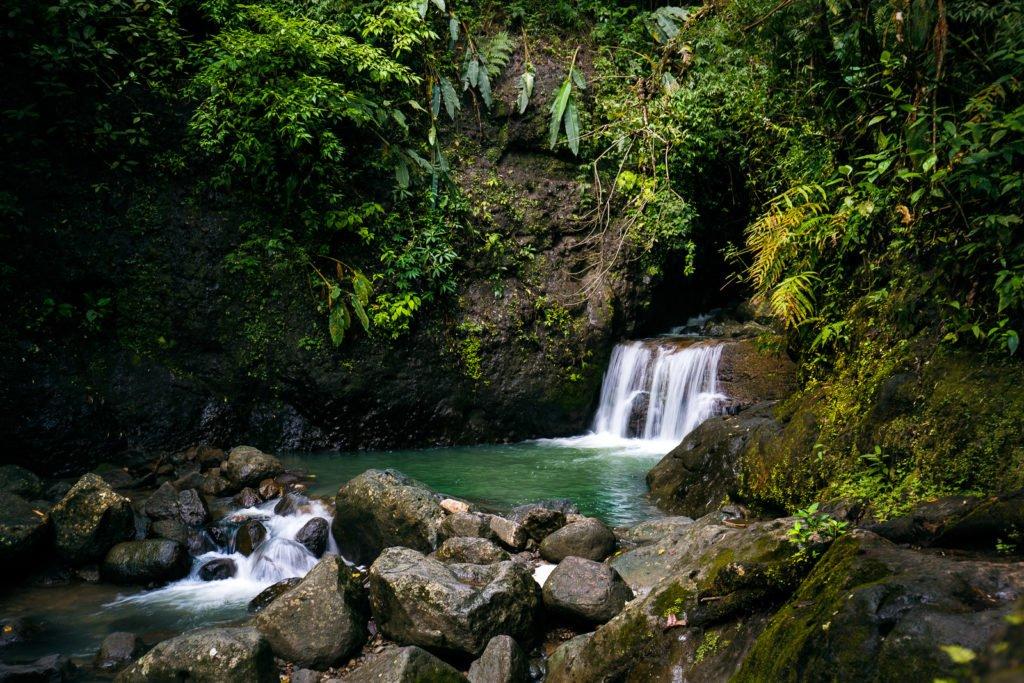 Kleiner Wasserfall mitten im Dschungel