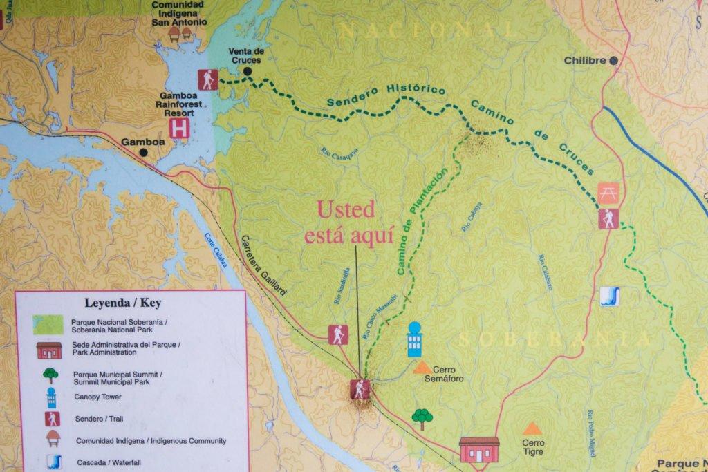 Wanderkarte Soberania Nationalpark